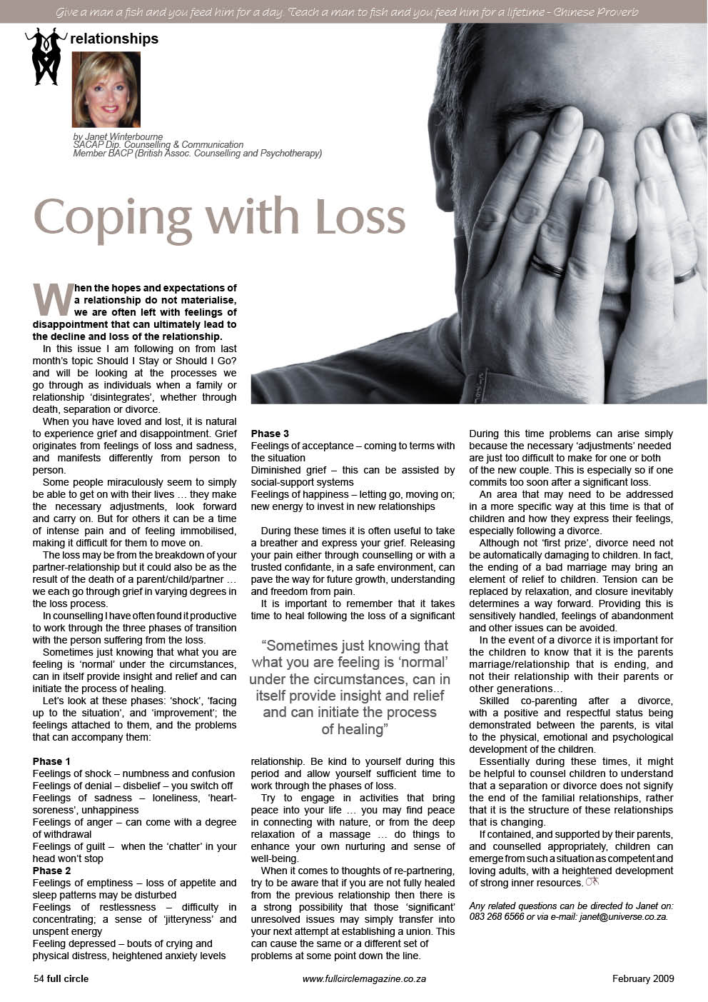 Coping with Loss Psychologist Cape Town