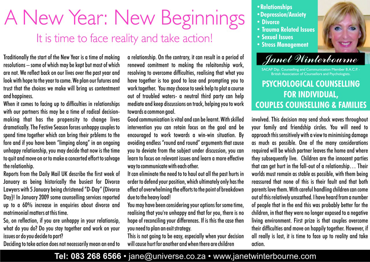 A New Year - New Beginnings Psychologist Cape Town