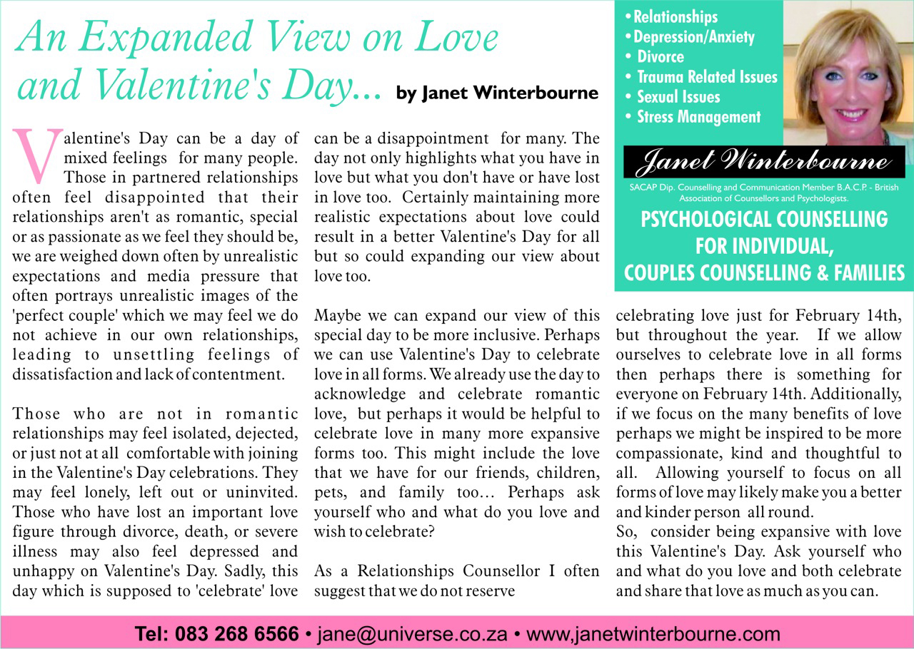 An Expanded View on Love and Valentines Day Psychologist Cape Town