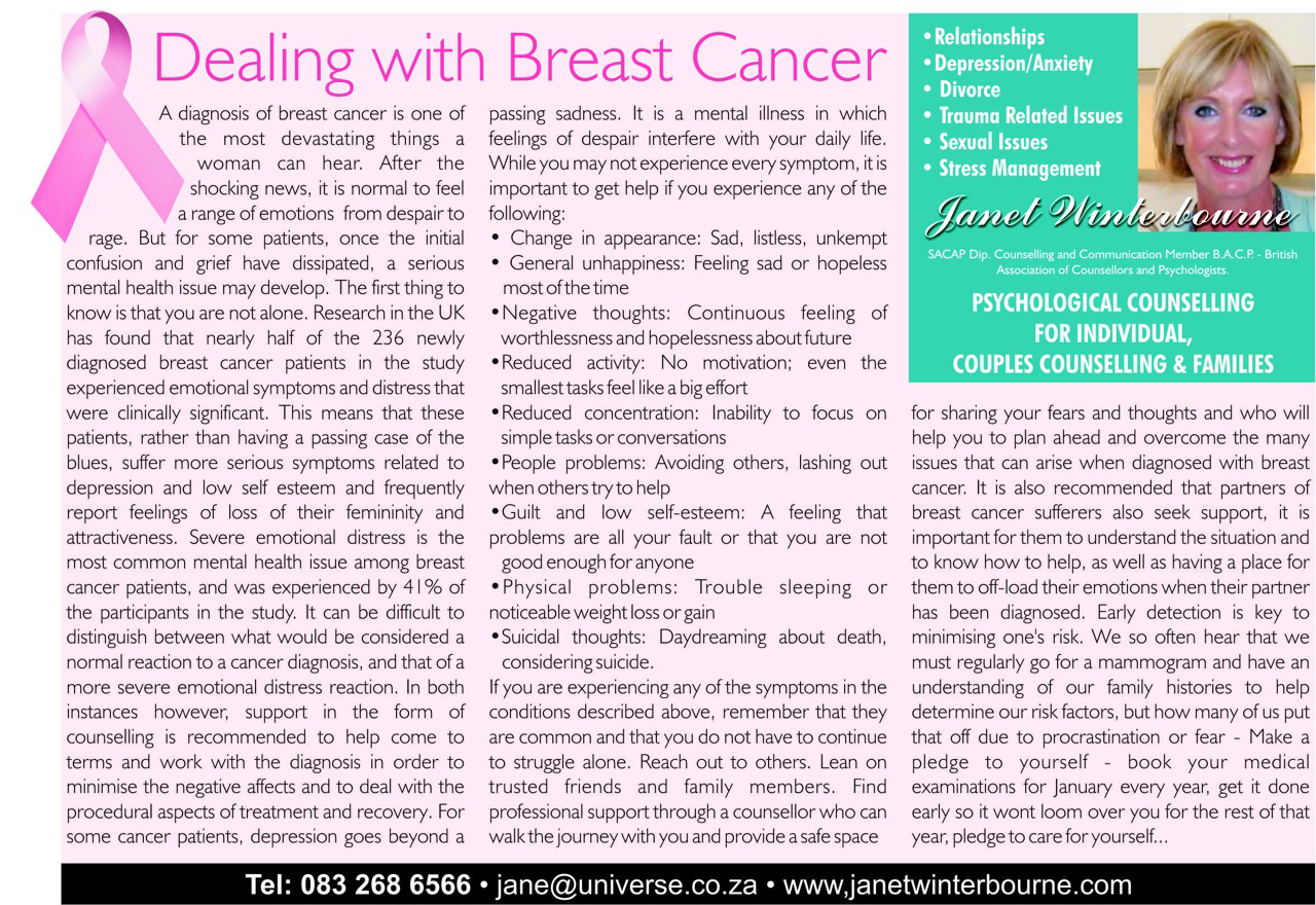 Dealing with Breast Cancer Psychologist Cape Town