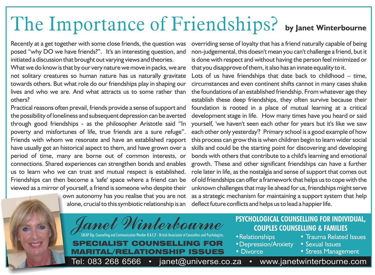 The Importance of Friendship Psychologist Cape Town