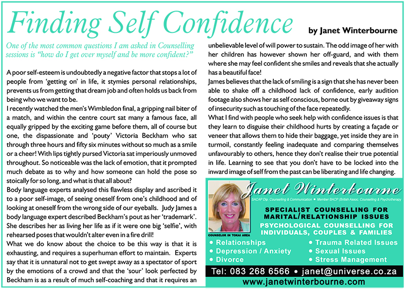 Finding Self Confidence Psychologist Cape Town