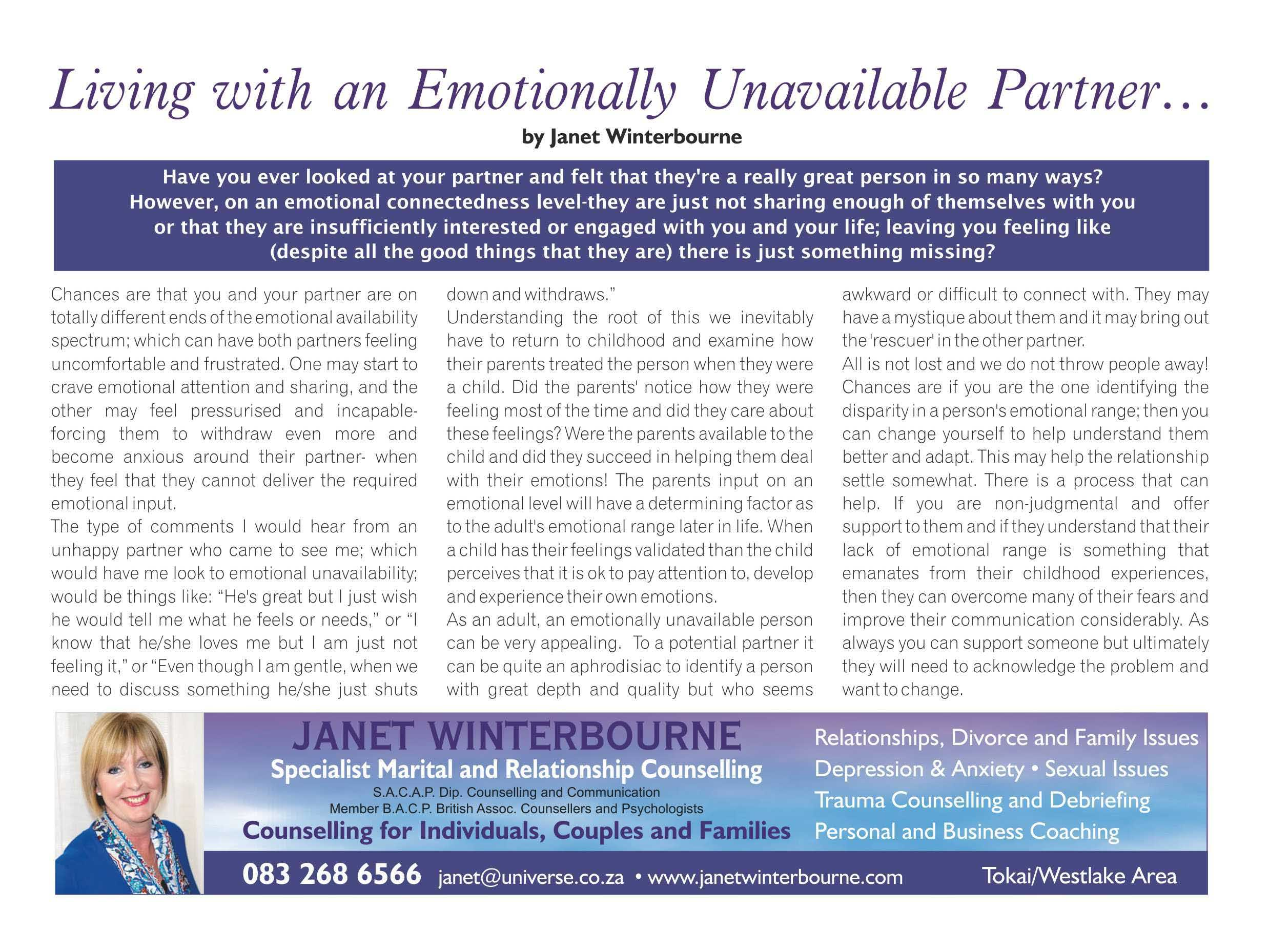 Living with an emotionally unavailable partner | Psychologist Cape Town