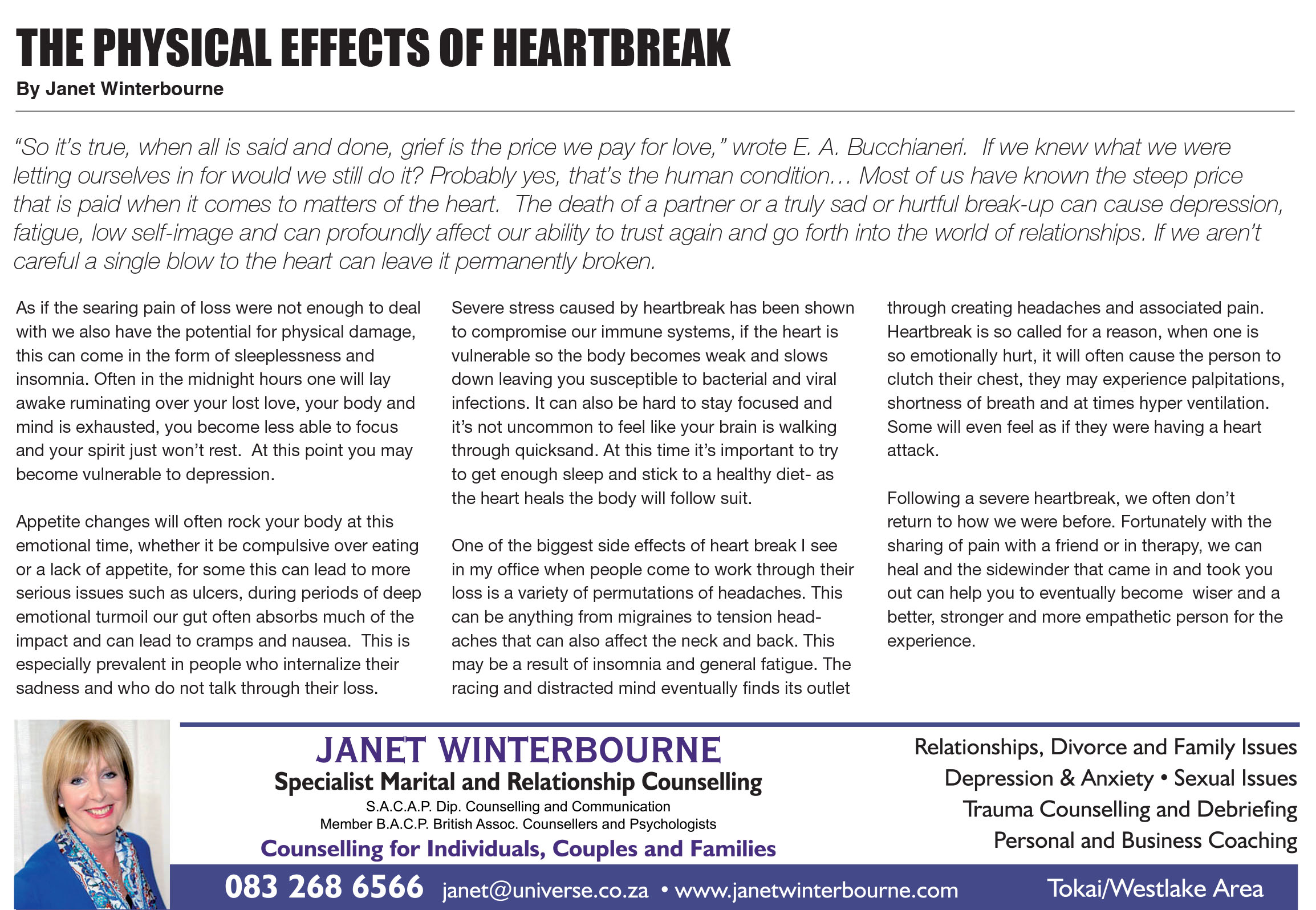 The Physical Effects Of Heartbreak | Psychologist Cape Town