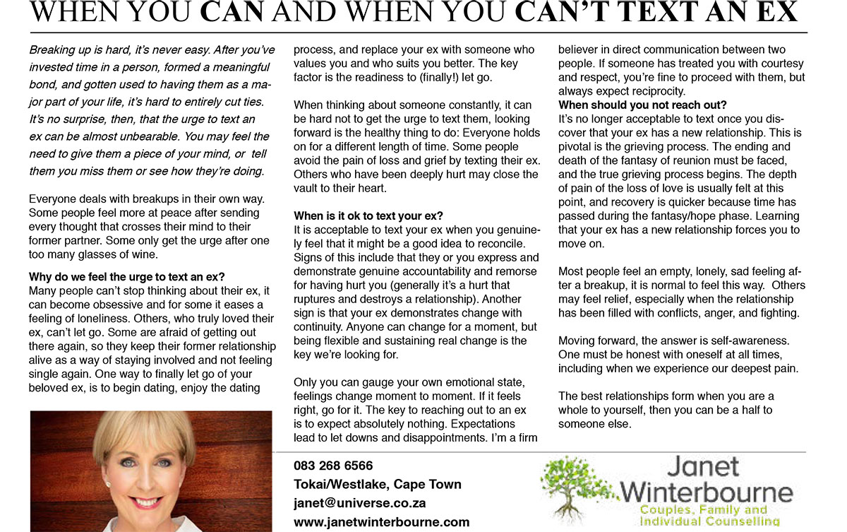 When you Can and when you Can't Text an Ex  | Psychologist Cape Town