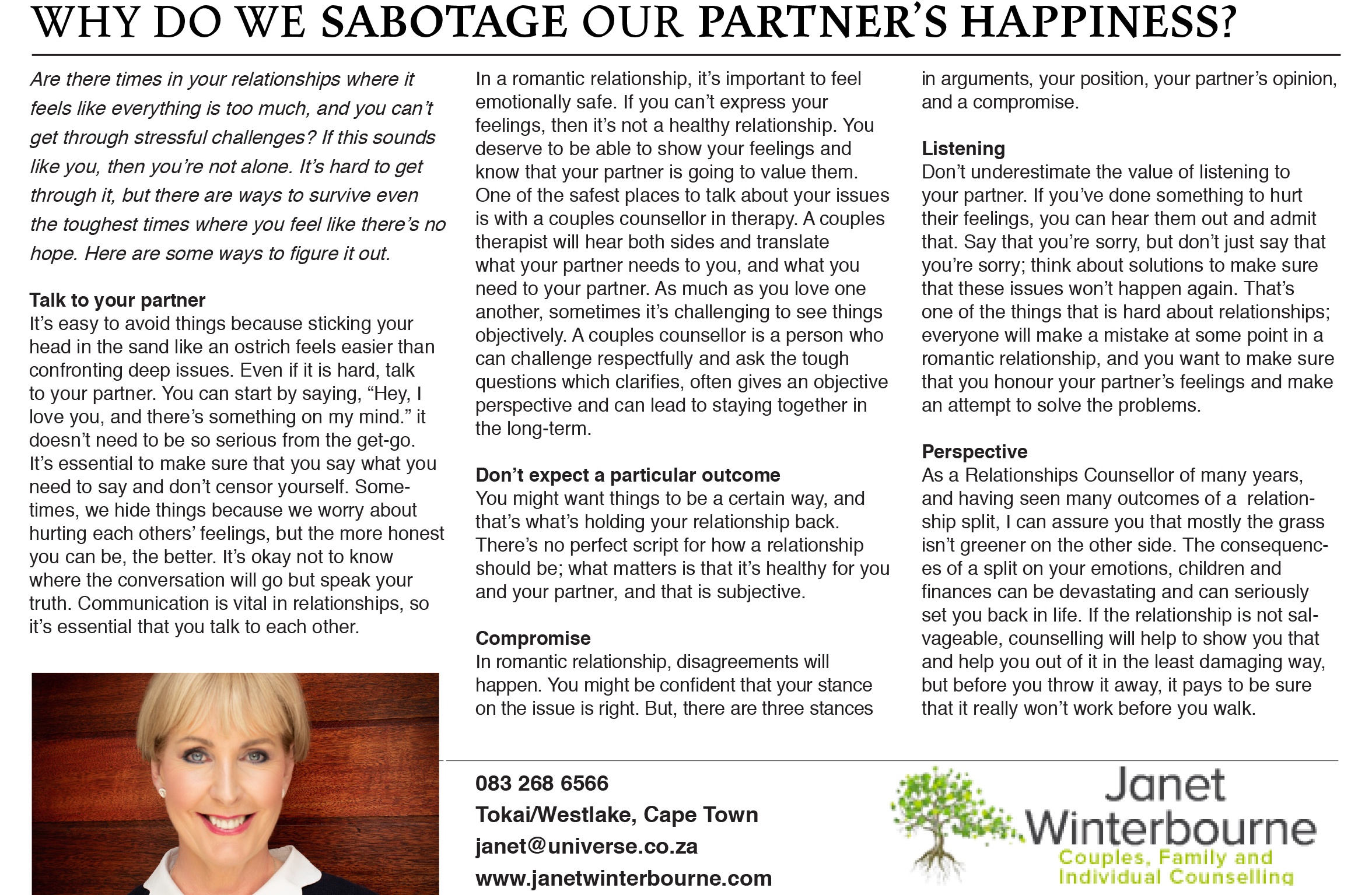 Why do we sabotage our partner's happiness? | Psychologist Cape Town